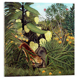 Akrylbillede  Combat of tiger and buffalo - Henri Rousseau