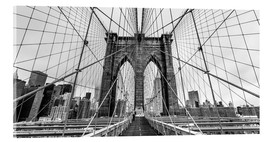 Akrylbillede  NYC: Brooklyn Bridge (monochrome) - Sascha Kilmer