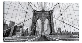 Lærredsbillede  NYC: Brooklyn Bridge (monochrome) - Sascha Kilmer
