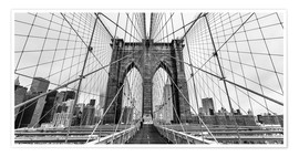 Premium-plakat NYC: Brooklyn Bridge (monochrome)