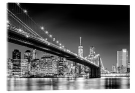 Akrylbillede  Brooklyn Bridge with Manhattan Skyline (monochrome) - Sascha Kilmer