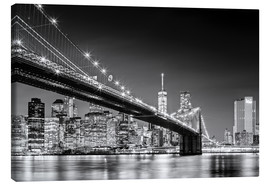 Lærredsbillede  Brooklyn Bridge with Manhattan Skyline (monochrome) - Sascha Kilmer