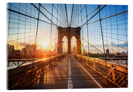 Akrylbillede  Brooklyn Bridge ved solopgang, New York - Jan Christopher Becke