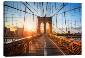 Lærredsbillede  Brooklyn Bridge ved solopgang, New York - Jan Christopher Becke