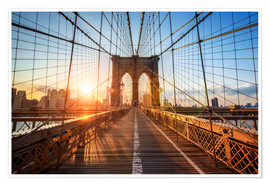 Premium-plakat Brooklyn Bridge ved solopgang, New York