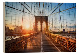 Print på træ  Brooklyn Bridge ved solopgang, New York - Jan Christopher Becke