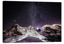 Lærredsbillede  Eiger, Monch and Jungfrau mountain peaks at night - Peter Wey