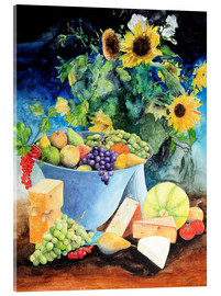 Akrylbillede  Still life with sunflowers, fruits and cheese - Gerhard Kraus