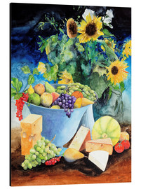 Print på aluminium  Still life with sunflowers, fruits and cheese - Gerhard Kraus