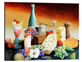 Print på aluminium  Stil life with coffee grinder, fruits and cheese - Gerhard Kraus