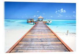 Akrylbillede  Pier to tropical blue sea, Maldives - Matteo Colombo
