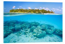 Akrylbillede  Reef and tropical island, Maldives - Matteo Colombo
