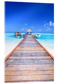 Akrylbillede  Pier into the ocean, Maldives - Matteo Colombo