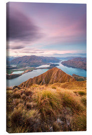 Lærredsbillede  Awesome sunset over Wanaka lake from Mt Roy, Otago, New Zealand - Matteo Colombo