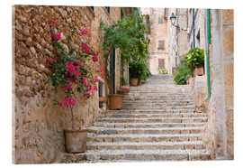 Akrylbillede  Gasse in Fornalutx, Mallorca - Ruth Tomlinson