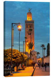 Lærredsbillede  The Minaret of Koutoubia Mosque illuminated at night, UNESCO World Heritage Site, Marrakech, Morocco - Martin Child