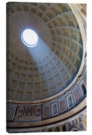 Lærredsbillede  A shaft of light through the dome of the Pantheon, UNESCO World Heritage Site, Rome, Lazio, Italy, E - Martin Child