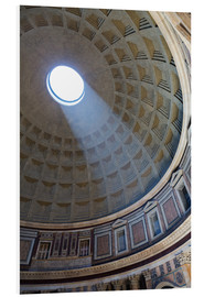 Print på skumplade  A shaft of light through the dome of the Pantheon, UNESCO World Heritage Site, Rome, Lazio, Italy, E - Martin Child