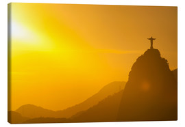 Lærredsbillede  View from the Sugarloaf of Christ the Redeemer statue on Corcovado, Rio de Janeiro, Brazil, South Am - Michael Runkel