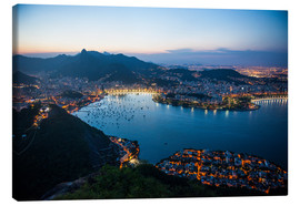 Lærredsbillede  View from the Sugarloaf at sunset, Rio de Janeiro, Brazil, South America - Michael Runkel