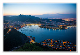 Premium-plakat  View from the Sugarloaf at sunset, Rio de Janeiro, Brazil, South America - Michael Runkel