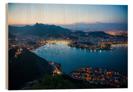 Print på træ  View from the Sugarloaf at sunset, Rio de Janeiro, Brazil, South America - Michael Runkel
