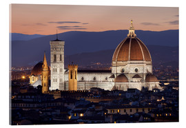Akrylbillede  Duomo at night from Piazza Michelangelo, Florence, UNESCO World Heritage Site, Tuscany, Italy, Europ - Stuart Black