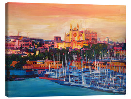 Lærredsbillede  Spain Balearic Island Palma de Mallorca with Harbour and Cathedral - M. Bleichner
