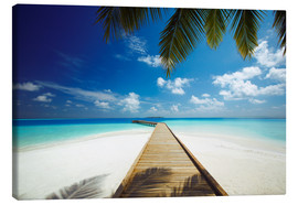 Lærredsbillede  Wooden jetty out to tropical sea - Sakis Papadopoulos