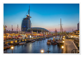 Premium-plakat Sail 2015 Klimahaus - Havenwelten Bremerhaven at night