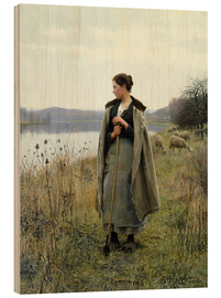 Print på træ  The Shepherdess of Rolleboise - Daniel Ridgway Knight