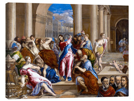 Lærredsbillede  Christ expels traders from the temple - Dominikos Theotokopoulos (El Greco)