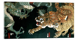 Akrylbillede  A dragon and two tigers - Utagawa Sadahide