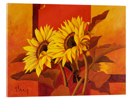 Akrylbillede  Two sunflowers III - Franz Heigl