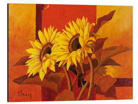 Print på aluminium  Two sunflowers III - Franz Heigl