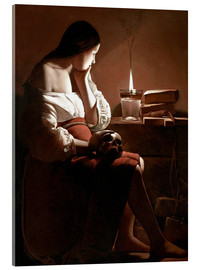 Akrylbillede  The Magdalen with the Smoking Flame - Georges de la Tour