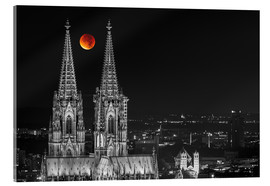 Akrylbillede  Blood Red Moon Cologne Cathedral - rclassen