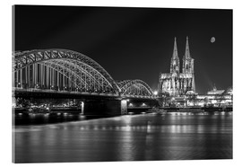 Akrylbillede  Cologne Cathedral and Hohenzollern Bridge at night (b / w) - rclassen