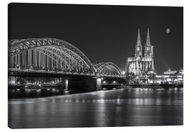 Lærredsbillede  Cologne Cathedral and Hohenzollern Bridge at night (b / w) - rclassen