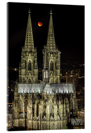 Akrylbillede  Blood moon shines over Cologne Cathedral - rclassen