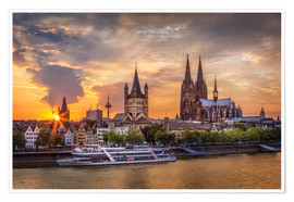 Premium-plakat  Cologne Cathedral and Great St Martin - Jens Korte