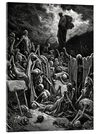 Akrylbillede  The Vision of The Valley of The Dry Bones - Gustave Doré