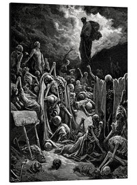 Print på aluminium  The Vision of The Valley of The Dry Bones - Gustave Doré