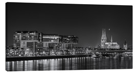 Lærredsbillede  Cologne night Skyline black / white - rclassen