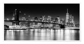 Premium-plakat  New York City Skyline with Brooklyn Bridge (monochrome) - Sascha Kilmer