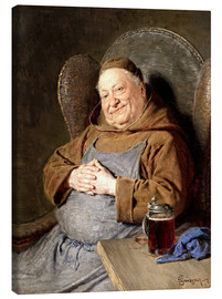 Lærredsbillede  Sitting monk with tankards - Eduard Grützner