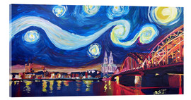 Akrylbillede  Starry Night in Cologne - Van Gogh inspirations on Rhine with Cathedral and Hohenzollern Bridge - M. Bleichner