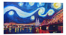 Print på skumplade  Starry Night in Cologne - Van Gogh inspirations on Rhine with Cathedral and Hohenzollern Bridge - M. Bleichner