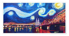 Premium-plakat  Starry Night in Cologne - Van Gogh inspirations on Rhine with Cathedral and Hohenzollern Bridge - M. Bleichner