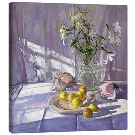 Lærredsbillede  Still Life Flowers and Lemons - Timothy Easton